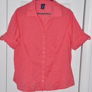 Coral short sleeve blouse